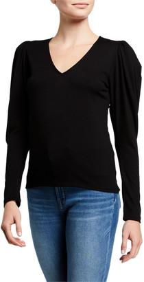 Frame Shirred V-Neck Long-Sleeve Knit Top