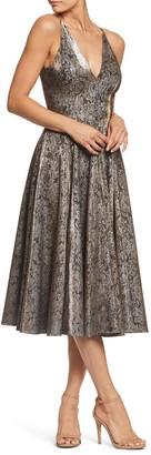 Dress the Population Delilah Plunging Jacquard Fit & Flare Midi Dress