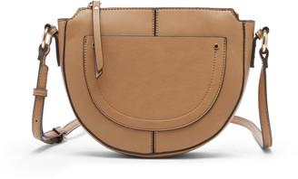 Sole Society Women's Yuri Crescent Crossbody Vegan Bag Leather Crossbody Black Vegan Leather From