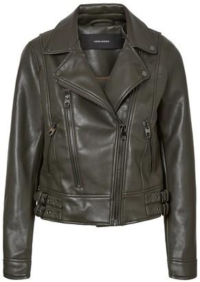 Vero Moda Short Faux Leather Biker Jacket with Pockets