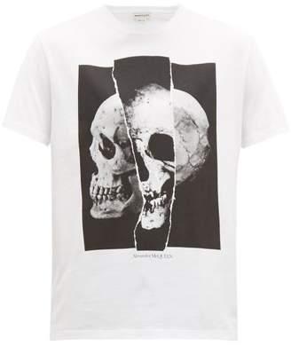 Alexander McQueen Split Skull-print Cotton T-shirt - Mens - White