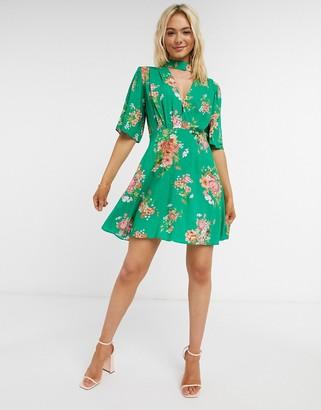 ASOS DESIGN flutter sleeve mini dress in floral print