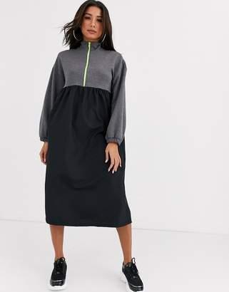 Asos Design DESIGN grey sweat dress with neon zip
