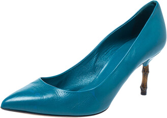 Gucci Blue Leather Kristen Bamboo Heel Pointed Toe Pumps Size 38