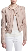 Tom Ford Long-Sleeve Jacket W/Fringe-Seams, Nude/Light Pink