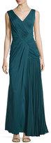 J. Mendel Sleeveless Plisse Draped Gown, Empress Green