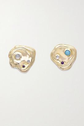 LEIGH MILLER + Net Sustain Lava Gold-tone Multi-stone Earrings