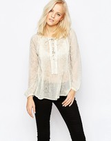 Greylin Zuri Lace Up Boho Shirt