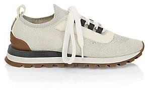 Brunello Cucinelli Women's Knit Mesh Suede Sneakers