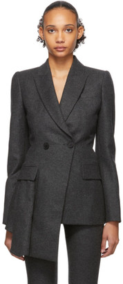 Alexander McQueen Grey Asymmetric Tailored Blazer