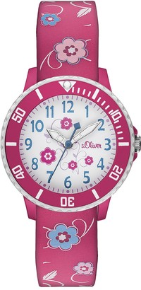 S'Oliver Girls' Analogue Quartz Watch with Silicone Strap SO-2990-PQ