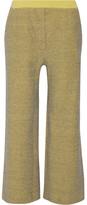 KÉJI - Metallic Cotton-blend Wide-leg Pants - Yellow