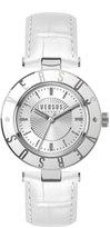 Versus By Versace 34.5mm Logo Watch w/ Calfskin Strap, White