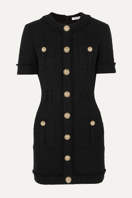 Balmain Button-embellished Cotton-blend Tweed Mini Dress - Black