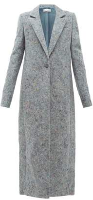 Marina Moscone - Single Breasted Tailored Recycled Denim Coat - Womens - Grey Multi