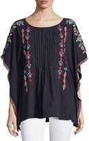 Johnny Was Embroidered Pintuck Poncho Top, Black/Multi