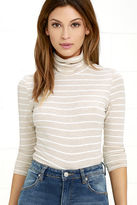 LuLu*s Show Your Stripes Beige Striped Turtleneck Top