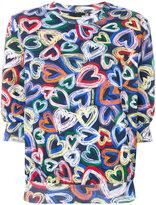 Love Moschino hearts print top - women - Cotton/Spandex/Elastane - 38