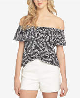 1 STATE 1.STATE Printed Off-The-Shoulder Flounce Top