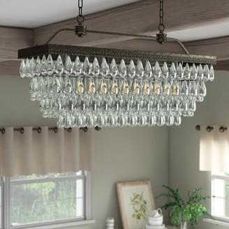 Gracie Oaks Rowell Rectangular Crystal 4-Light Kitchen Island Pendant