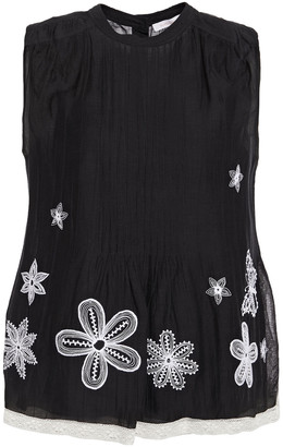 See by Chloe Lace-trimmed Embroidered Cotton-blend Gauze Top