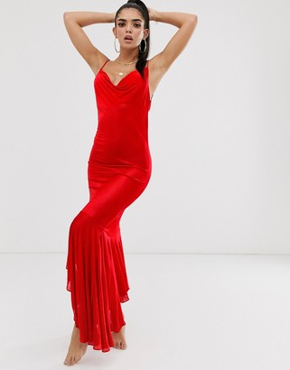 Asos Design DESIGN slinky beach maxi dress with cowl neck & ruffle hem-Red