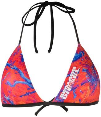 Diesel x Sea-Doo camo-fish print bikini top