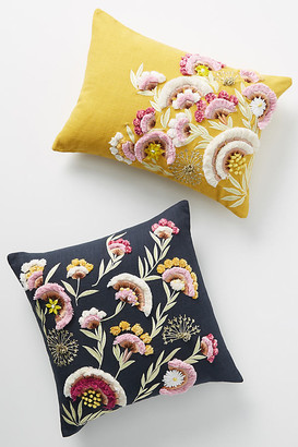 """Anthropologie Olga Prinku Embroidered Odette Pillow By in Yellow Size 14"""" X 20"""""""