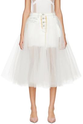 Unravel White Washout Denim Tulle Reversed Skirt