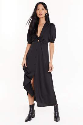 Nasty Gal Womens Cut-Out of Bounds Button-Down Midi Dress - black - 4