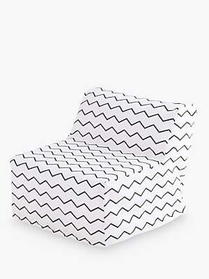 Great Little Trading Co Single Sleepover Chair, White/Zig Zag