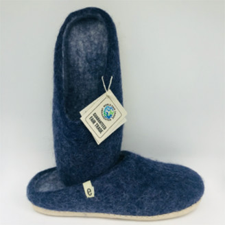 egos - Egos Hand Made Fair Trade Felted Wool Slippers Blue - 37 ( 4 )