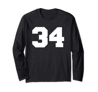 Sports Jersey Numbers: Varsity Number 34 Sports Jersey Player #34 Fan FRONT Print Varsity Long Sleeve T-Shirt