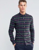 Asos Skinny Shirt With Khaki Plaid Check In Long Sleeve