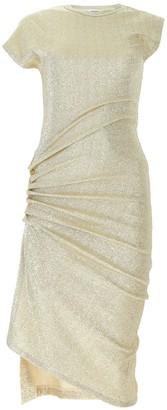 Paco Rabanne Glitter Ruched Midi Dress