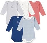 Petit Bateau Set of 5 baby boys long-sleeved bodysuits