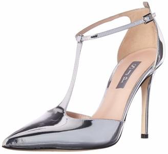 Sarah Jessica Parker Women's Taylor Closed Toe T-Strap Pump Silver Patent 37.5 B EU (7 US)