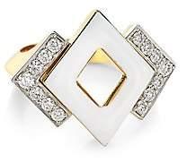David Webb Women's Motif 18K Yellow Gold, White Enamel & Double Diamond Ring