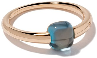 Pomellato 18kt rose & white gold M'ama non M'ama blue topaz ring