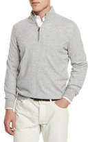 Brunello Cucinelli Cashmere Quarter-Zip Pullover Sweater, Light Gray