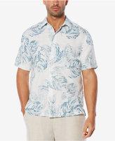 Cubavera Men's 100% Linen Dobby Floral-Print Shirt