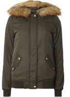 Dorothy Perkins Womens **Tall Faux Fur Hooded Bomber Jacket- Khaki