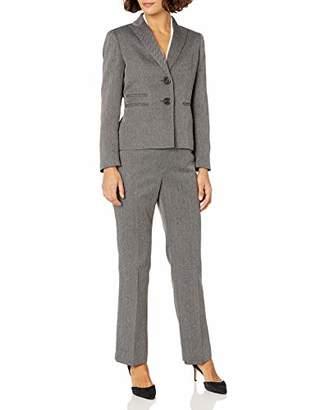 Le Suit Women's 2 Button Peak Lapel Melange Herringbone Pant Suit