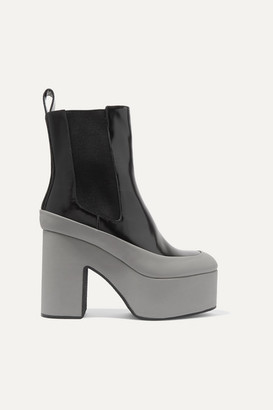 Dries Van Noten Rubber-trimmed Glossed-leather Platform Ankle Boots - Black