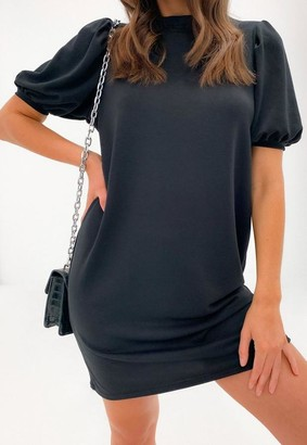 Missguided Black Puff Sleeve Sweater Dress