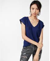 Express two pocket rolled sleeve v-neck blouse