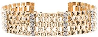 Alessandra Rich Crystal-Embellished Pyramid Stud Choker