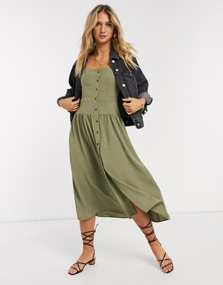 ASOS DESIGN button through midi tea dress with puff sleeves in khaki