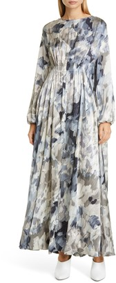 Co Drape Silk Long Sleeve Maxi Dress