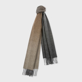 Paul Smith Men's Taupe Gradient Lambswool-Cashmere Scarf With Grey Reverse